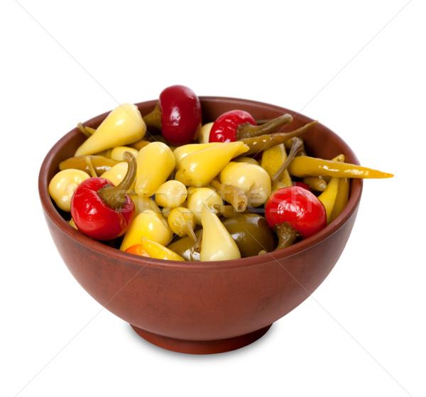 Hot turks gemarineerd paprika keramische Stockfoto © BSANI
