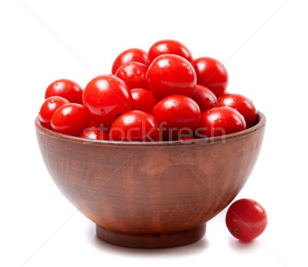 ıslak kiraz domates seramik çanak yalıtılmış beyaz Stok fotoğraf © BSANI