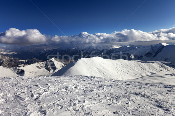 View on off-piste slope and snowy mountains Stock photo © BSANI