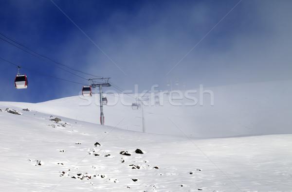 Gôndola névoa cáucaso montanhas Geórgia Foto stock © BSANI