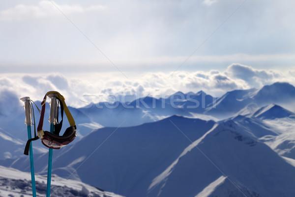 Sí maszk este napfény hegyek Kaukázus Stock fotó © BSANI