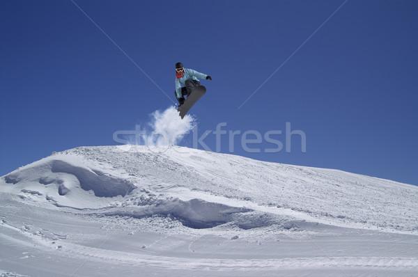スノーボーダー ジャンプ 地形 公園 空 山 ストックフォト © BSANI