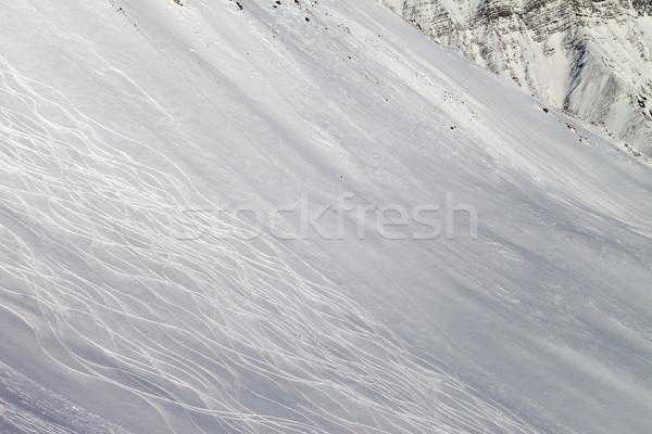 Tracks on freeriding slope Stock photo © BSANI