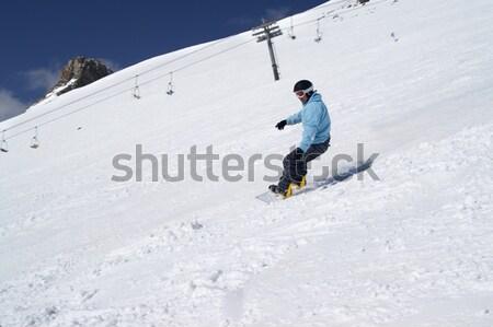 Snowbordos fehér hegy űr tél sebesség Stock fotó © BSANI