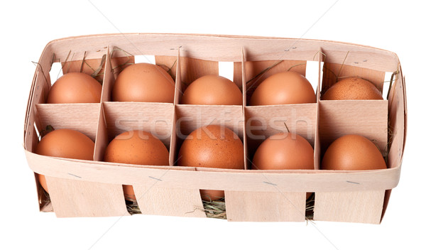 Brown eggs in eco box Stock photo © BSANI