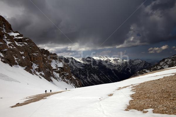 Stockfoto: Groep · wandelaars · bergen · storm · Turkije · centraal