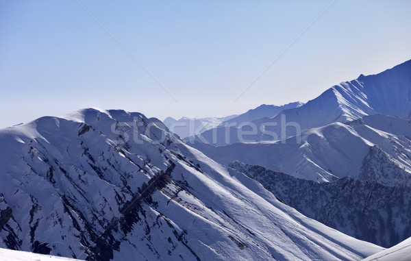 Stock photo: Snow mountains in morning