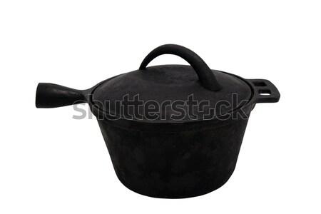 Oude gietijzer pot geïsoleerd witte voedsel Stockfoto © BSANI
