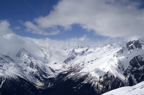 Cáucaso montanhas paisagem gelo inverno azul Foto stock © BSANI