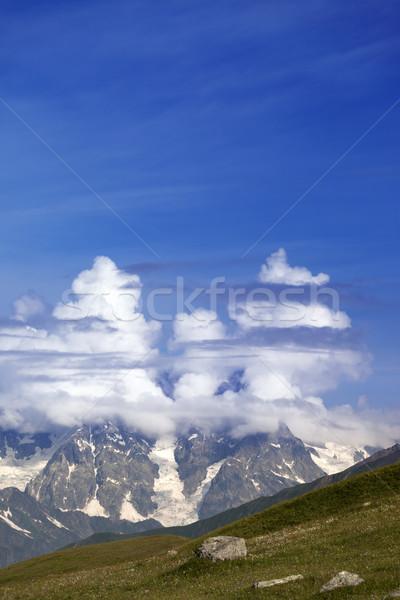 Stok fotoğraf: Yüksek · dağlar · bulutlar · kafkaslar · Georgia · spor