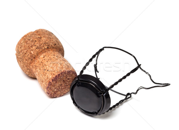 Champagne wine cork and black muselet Stock photo © BSANI
