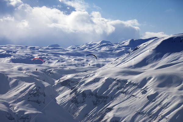 Speed riding in snow mountains Stock photo © BSANI