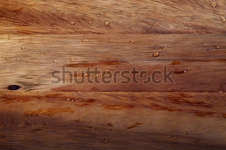 Stock photo: Wooden kitchen board with water drops