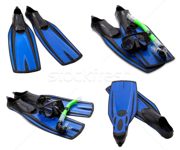 Set of blue flippers, mask, snorkel for diving with water drops Stock photo © BSANI