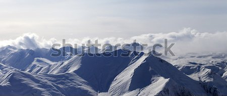 Skydiver at evening cloudy mountains Stock photo © BSANI