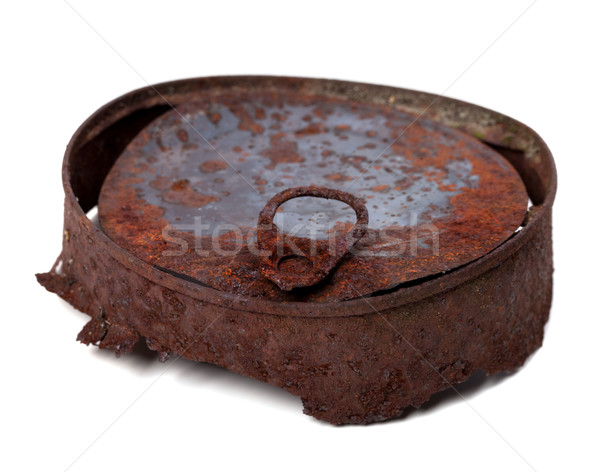 Old rusty tin can. Isolated on white background. Stock photo © BSANI