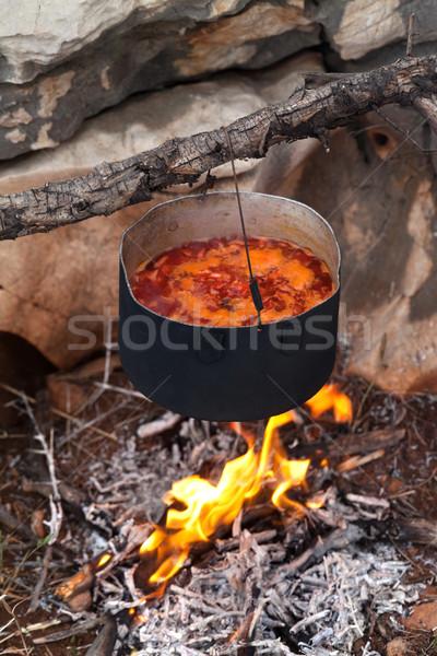 Borscht (Ukrainian soup) cooking on campfire Stock photo © BSANI
