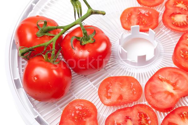 Taze domates gıda tepsi su damlası su Stok fotoğraf © BSANI