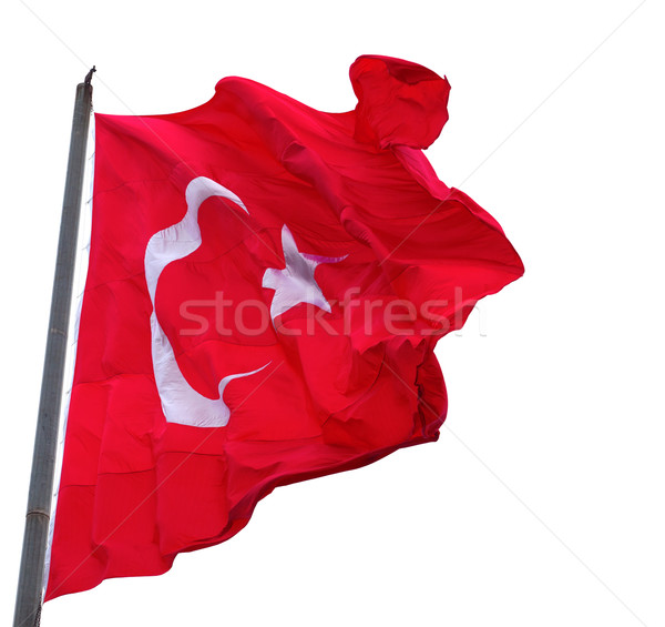 Wiatr banderą Turcja maszt odizolowany Zdjęcia stock © BSANI