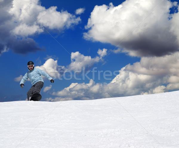 Snowbordos emelkedő szép nap nap természet Stock fotó © BSANI