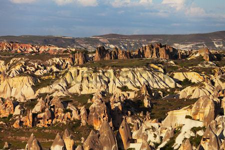 View of sunset Cappadocia valley in spring Stock photo © BSANI