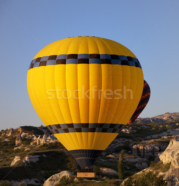 Hot air balloons in mountains at early morning Stock photo © BSANI