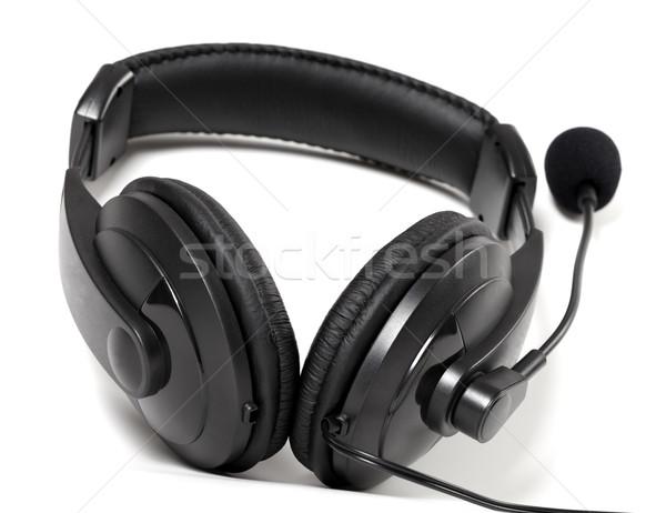 Stockfoto: Hoofdtelefoon · microfoon · witte · muziek · technologie · achtergrond