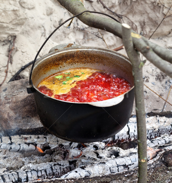 Soup cooking in sooty cauldron on campfire  Stock photo © BSANI