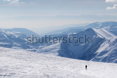 Gondola lifts and ski slope at nice sun day Stock photo © BSANI