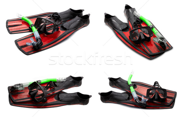 Set of red swim fins, mask and snorkel for diving on white backg Stock photo © BSANI