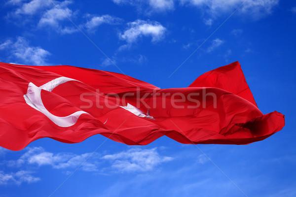 Сток-фото: флаг · Турция · Blue · Sky · Nice · день