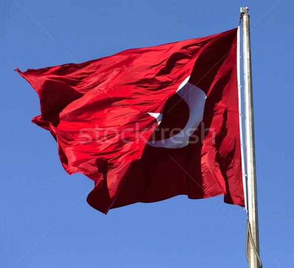 Сток-фото: турецкий · флаг · флагшток · ветер · Blue · Sky