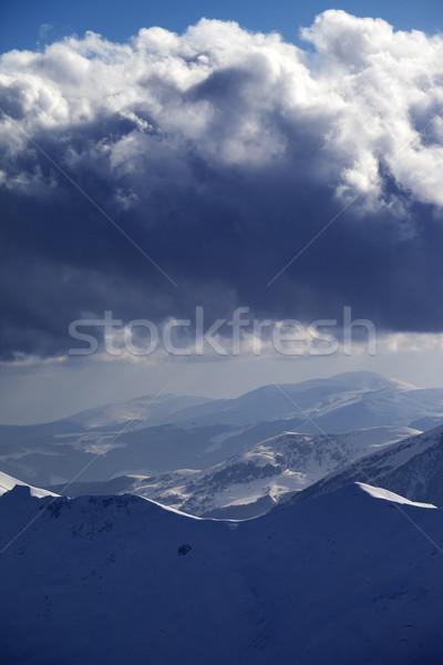 Hó hegyek viharfelhők Kaukázus Grúzia kilátás Stock fotó © BSANI