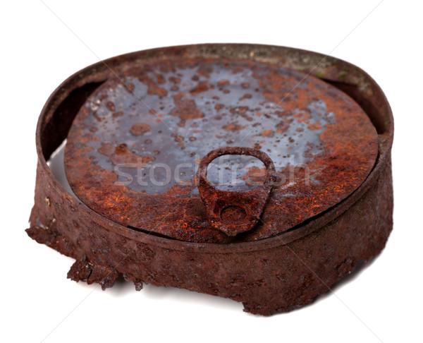 старые ржавые олово можете изолированный белый Сток-фото © BSANI