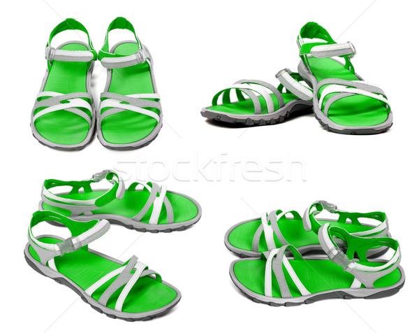 Zestaw zielone lata sandały odizolowany biały Zdjęcia stock © BSANI