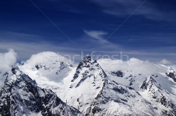 Kafkaslar dağlar manzara kış mavi kaya Stok fotoğraf © BSANI