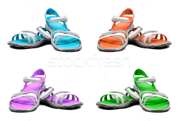 Set of multicolor summer sandals Stock photo © BSANI