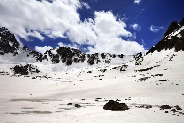 Snowy mountain at nice sun day Stock photo © BSANI