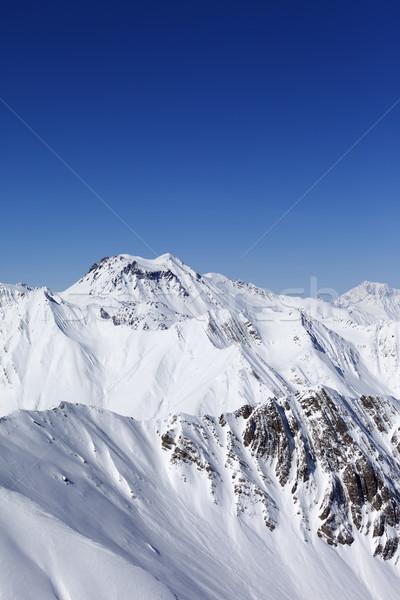 Winter Mountains And Blue Sky Caucasus Mountains Georgia