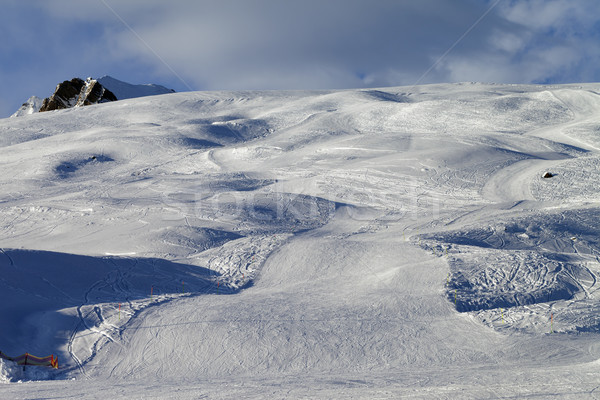 Stock photo: Snow skiing piste in evening
