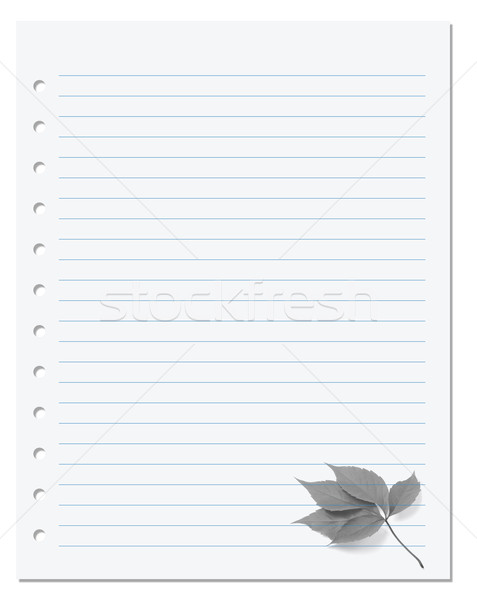 Notebook paper with virginia creeper leaf  Stock photo © BSANI