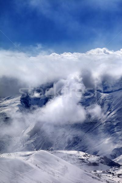 Ski resort in mist and sunlight sky Stock photo © BSANI