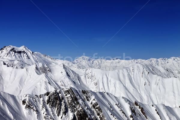 Hegyek nap nap kilátás sípálya Kaukázus Stock fotó © BSANI