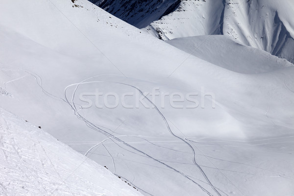 View on snowy off piste slope with trace from ski and snowboards Stock photo © BSANI