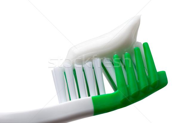 Yeşil diş fırçası diş macunu yalıtılmış beyaz Stok fotoğraf © BSANI