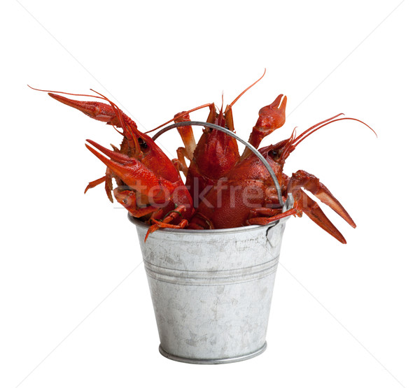 Stock photo: Tin bucket of boiled crawfish