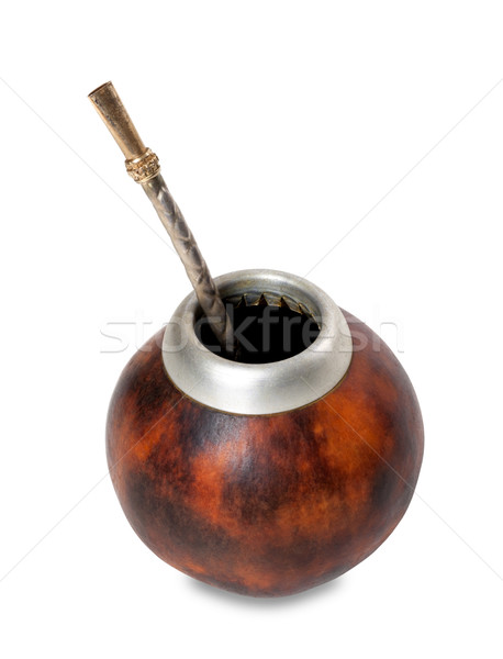 Calabash gourd with bombilla on white background Stock photo © BSANI
