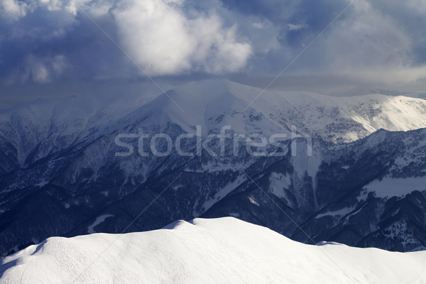 Top view on sunlit off-piste slope Stock photo © BSANI
