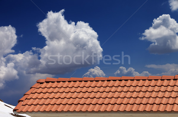 Roof tiles, snowy slope and blue sky with clouds Stock photo © BSANI