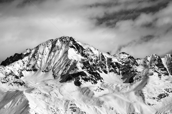 Black and white winter snow mountains at nice sun day Stock photo © BSANI